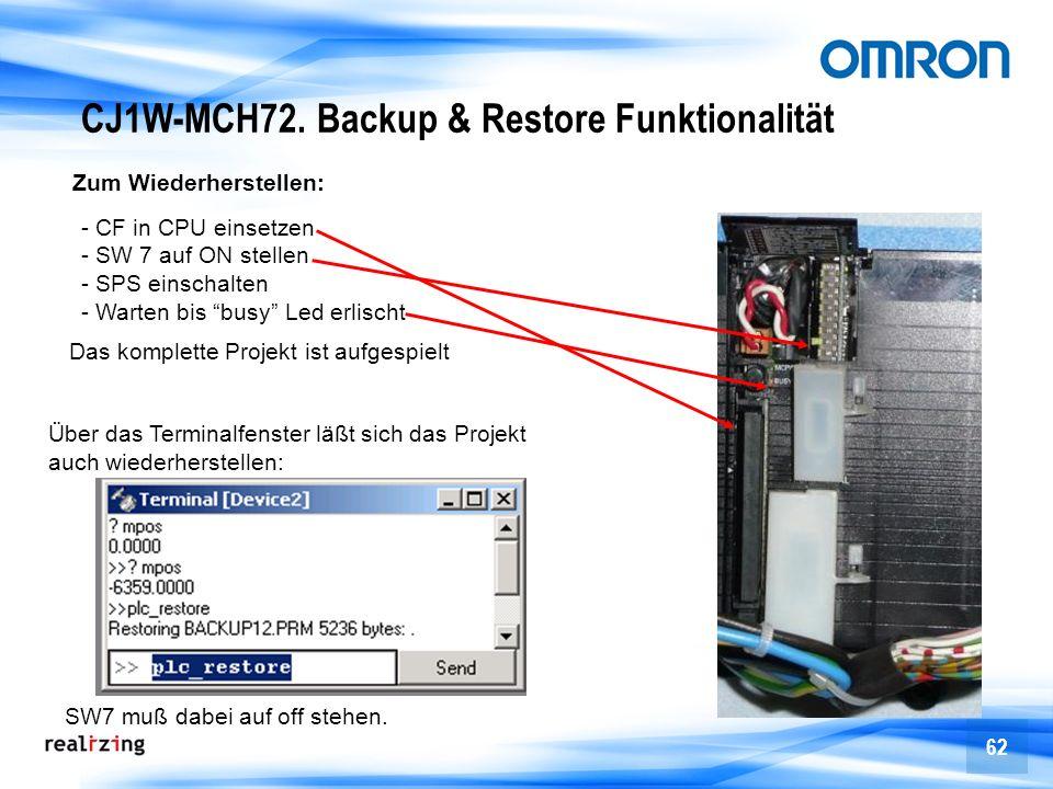 62 Zum Wiederherstellen: - CF in CPU einsetzen - SW 7 auf ON stellen - SPS einschalten - Warten bis busy Led erlischt Über das Terminalfenster läßt si