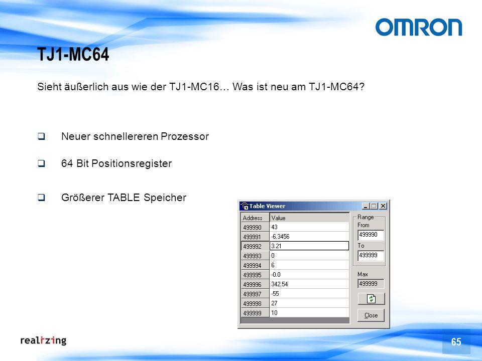 65 TJ1-MC64 Sieht äußerlich aus wie der TJ1-MC16… Was ist neu am TJ1-MC64? Neuer schnellereren Prozessor 64 Bit Positionsregister Größerer TABLE Speic