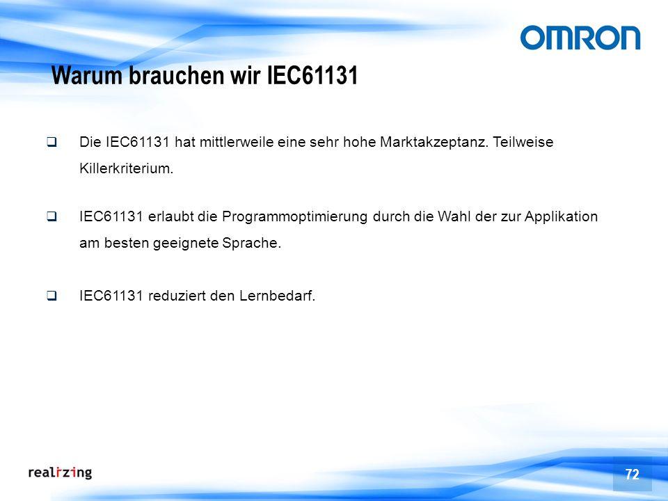 72 Warum brauchen wir IEC61131 Die IEC61131 hat mittlerweile eine sehr hohe Marktakzeptanz. Teilweise Killerkriterium. IEC61131 erlaubt die Programmop