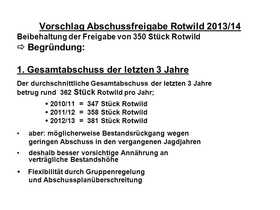 Vorschlag Abschussfreigabe Rotwild 2013/14 Beibehaltung der Freigabe von 350 Stück Rotwild Begründung: 1. Gesamtabschuss der letzten 3 Jahre Der durch