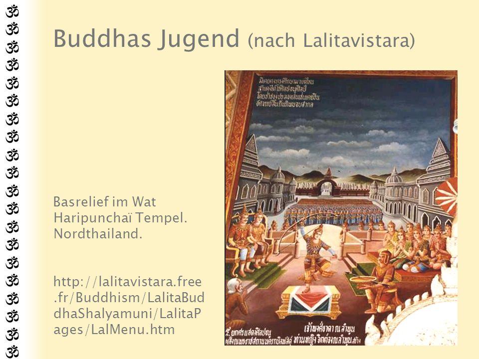 Die vier Leiden Sudhodana versuchte den heranwachsenden Gotama vor dem Einfluss der Außenwelt zu schützen und sorgte stets für seine Unterhaltung innerhalb der Palastwände.