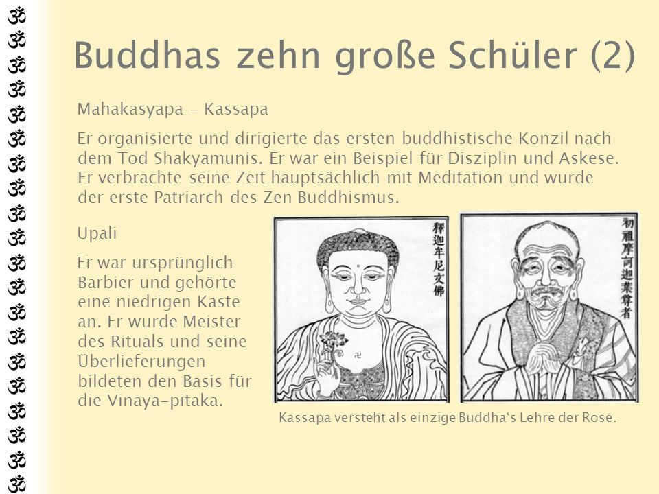 Buddhas zehn große Schüler (3) Ananda Er war Gotama Siddhartas Cousin.