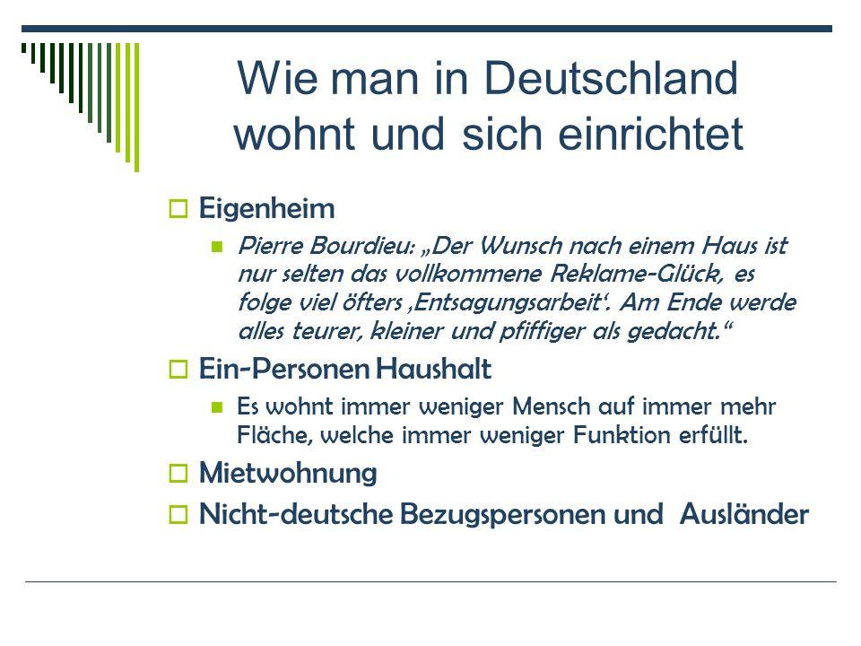 Wie man in Deutschland wohnt und sich einrichtet Eigenheim Pierre Bourdieu: Der Wunsch nach einem Haus ist nur selten das vollkommene Reklame-Glück, es folge viel öfters Entsagungsarbeit.