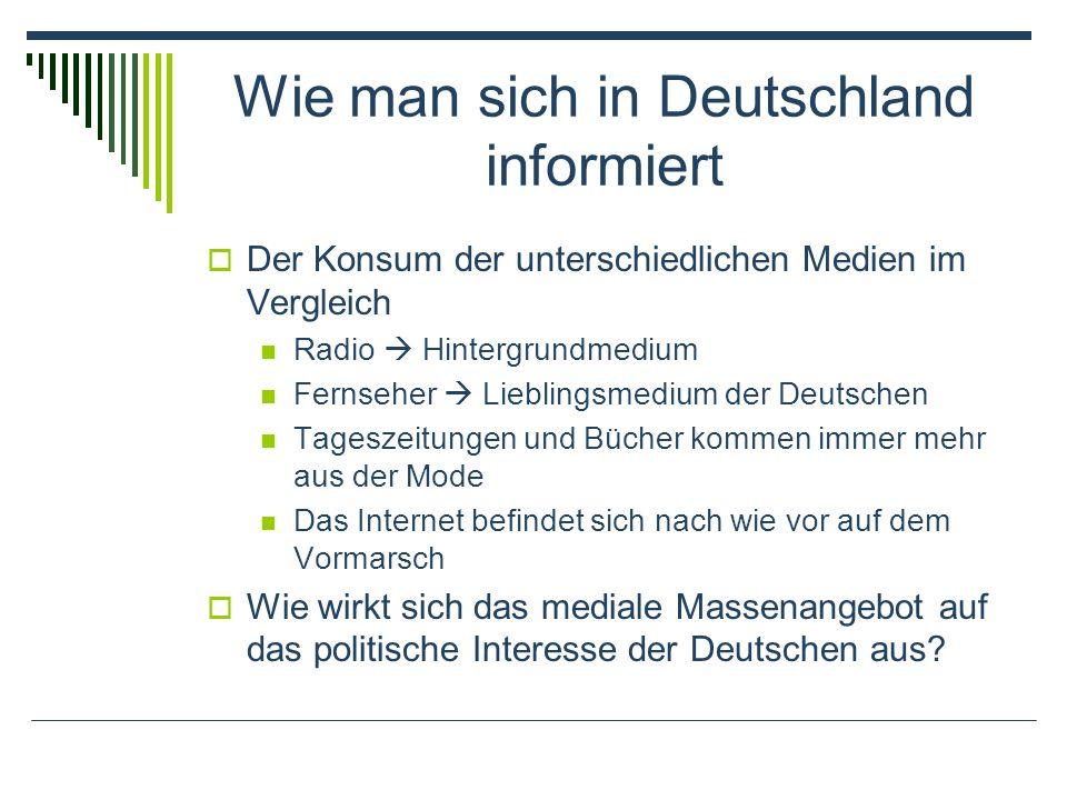 Wie man sich in Deutschland informiert Der Konsum der unterschiedlichen Medien im Vergleich Radio Hintergrundmedium Fernseher Lieblingsmedium der Deutschen Tageszeitungen und Bücher kommen immer mehr aus der Mode Das Internet befindet sich nach wie vor auf dem Vormarsch Wie wirkt sich das mediale Massenangebot auf das politische Interesse der Deutschen aus?
