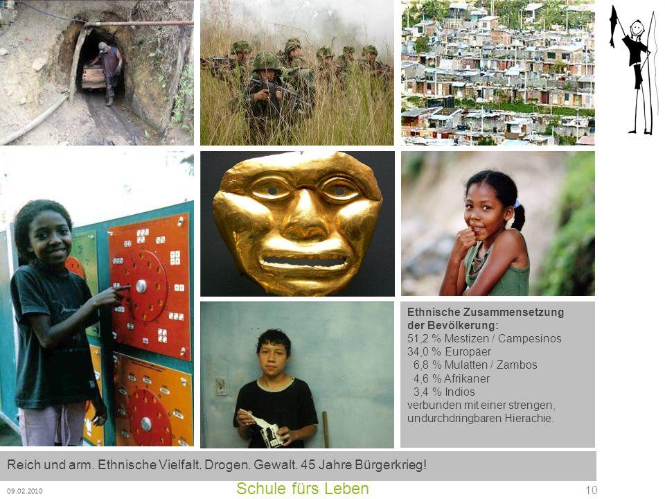 Schule fürs Leben 09.02.2010 10 Ethnische Zusammensetzung der Bevölkerung: 51,2 % Mestizen / Campesinos 34,0 % Europäer 6,8 % Mulatten / Zambos 4,6 %