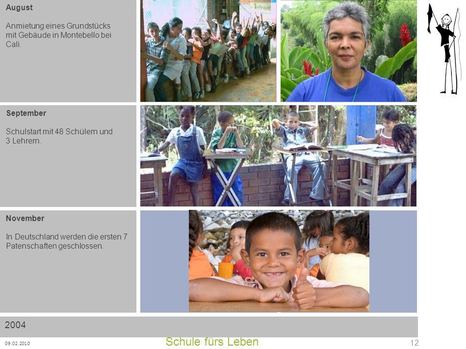 Schule fürs Leben 09.02.2010 12 August Anmietung eines Grundstücks mit Gebäude in Montebello bei Cali. September Schulstart mit 48 Schülern und 3 Lehr