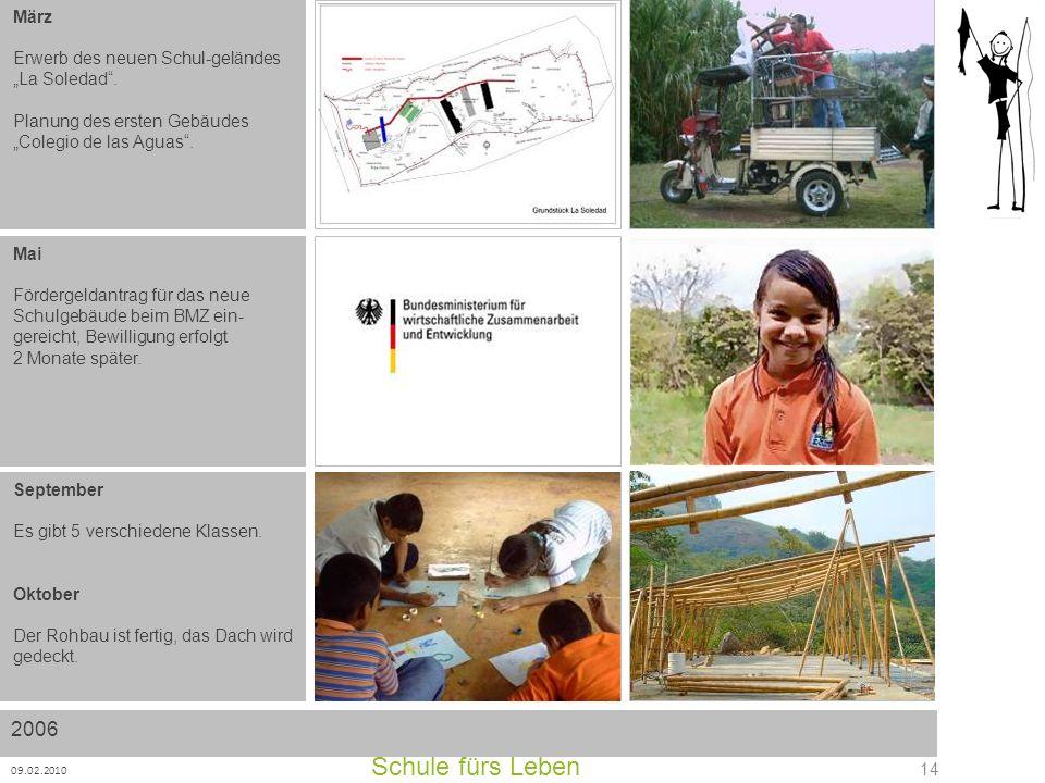 Schule fürs Leben 09.02.2010 14 2006 März Erwerb des neuen Schul-geländes La Soledad. Planung des ersten Gebäudes Colegio de las Aguas. Mai Fördergeld