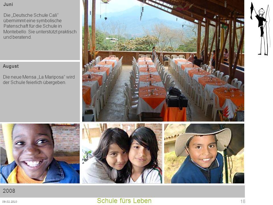 Schule fürs Leben 09.02.2010 18 Juni Die Deutsche Schule Cali übernimmt eine symbolische Patenschaft für die Schule in Montebello. Sie unterstützt pra