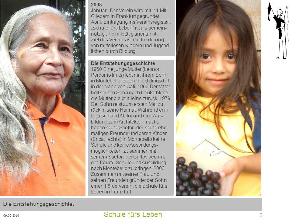 Schule fürs Leben 09.02.2010 2 2003 Januar: Der Verein wird mit 11 Mit- Gliedern in Frankfurt gegründet. April: Eintragung ins Vereinsregister. Schule