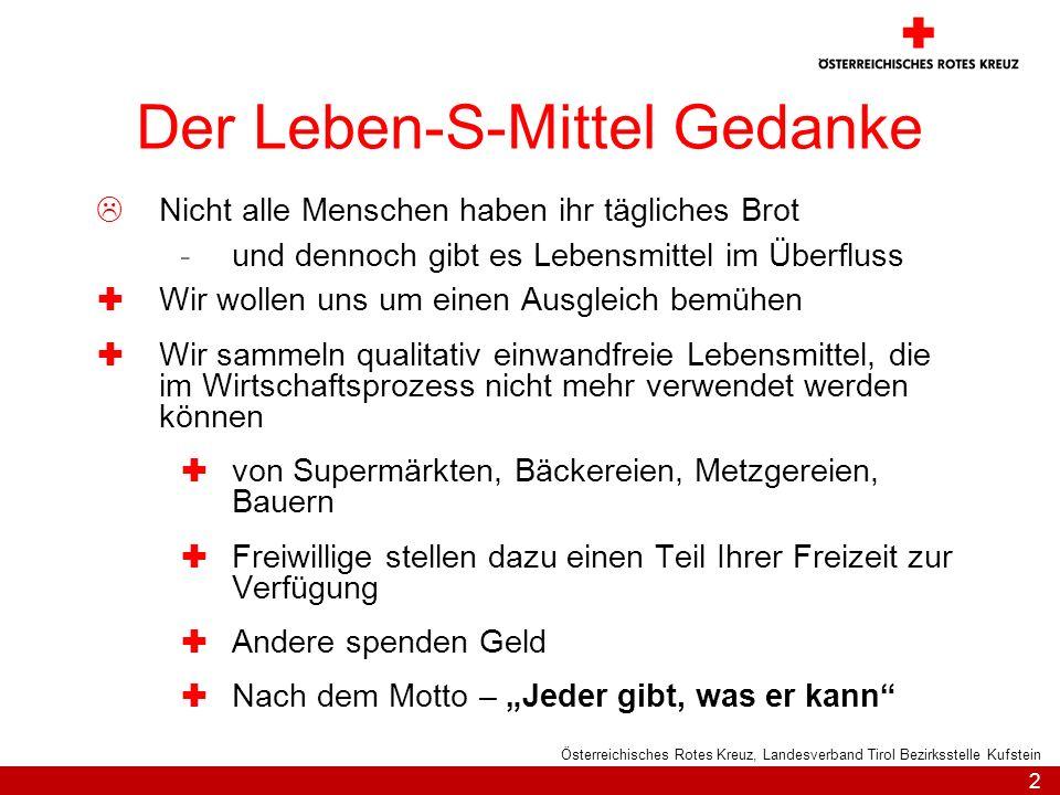 2 Österreichisches Rotes Kreuz, Landesverband Tirol Bezirksstelle Kufstein Der Leben-S-Mittel Gedanke Nicht alle Menschen haben ihr tägliches Brot -un