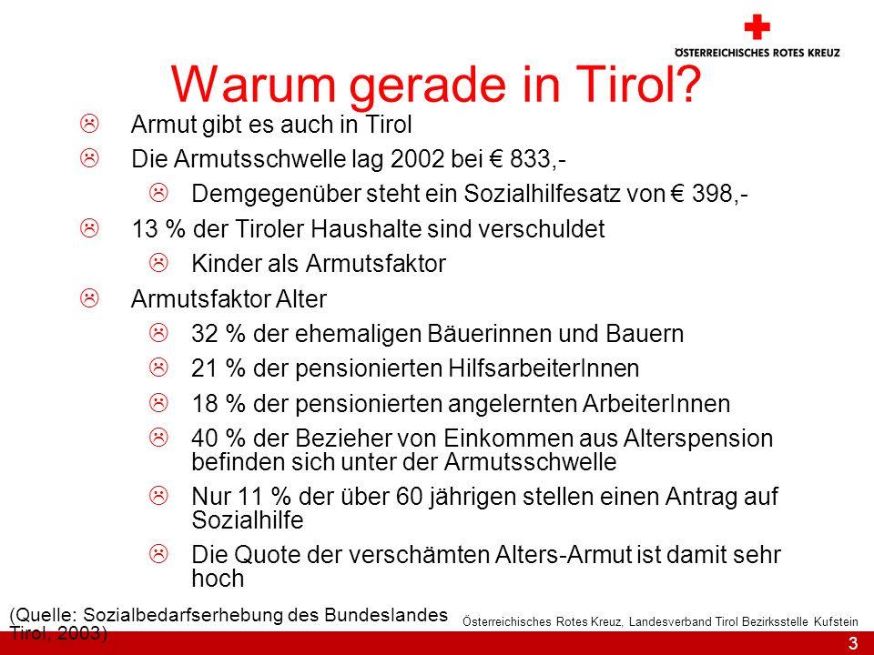 3 Österreichisches Rotes Kreuz, Landesverband Tirol Bezirksstelle Kufstein Warum gerade in Tirol? Armut gibt es auch in Tirol Die Armutsschwelle lag 2