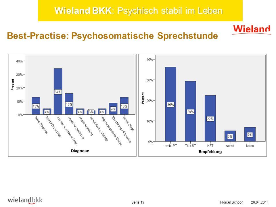 20.04.2014Florian SchoofSeite 13 Best-Practise: Psychosomatische Sprechstunde