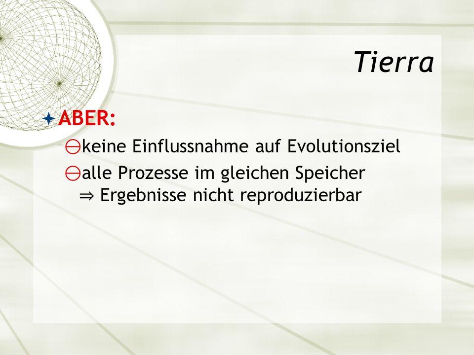Tierra ABER: keine Einflussnahme auf Evolutionsziel alle Prozesse im gleichen Speicher Ergebnisse nicht reproduzierbar