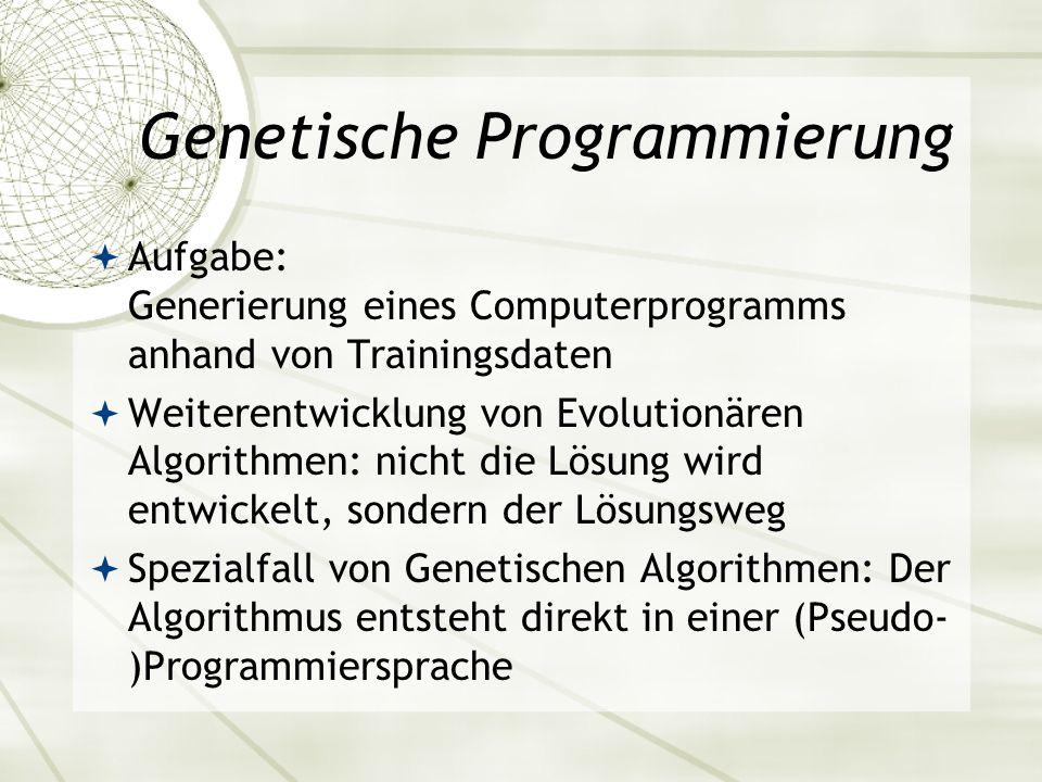 Genetische Programmierung Aufgabe: Generierung eines Computerprogramms anhand von Trainingsdaten Weiterentwicklung von Evolutionären Algorithmen: nich