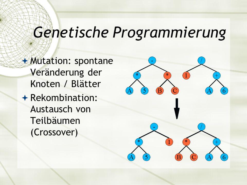 Genetische Programmierung Mutation: spontane Veränderung der Knoten / Blätter Rekombination: Austausch von Teilbäumen (Crossover)