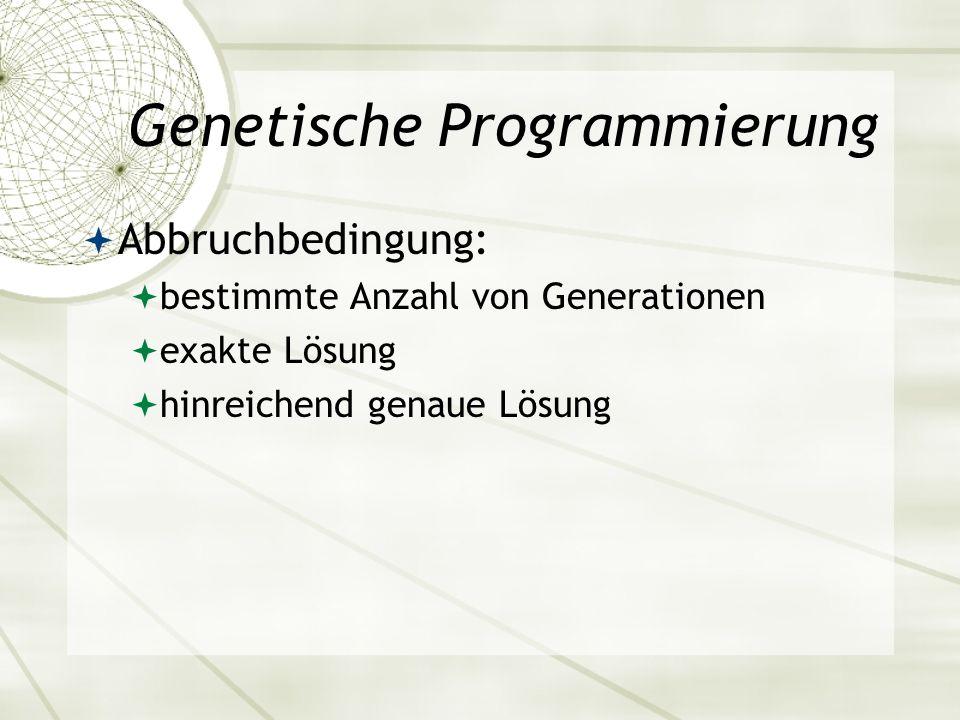 Genetische Programmierung Abbruchbedingung: bestimmte Anzahl von Generationen exakte Lösung hinreichend genaue Lösung