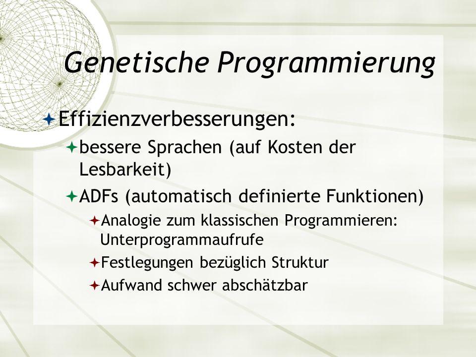 Genetische Programmierung Effizienzverbesserungen: bessere Sprachen (auf Kosten der Lesbarkeit) ADFs (automatisch definierte Funktionen) Analogie zum