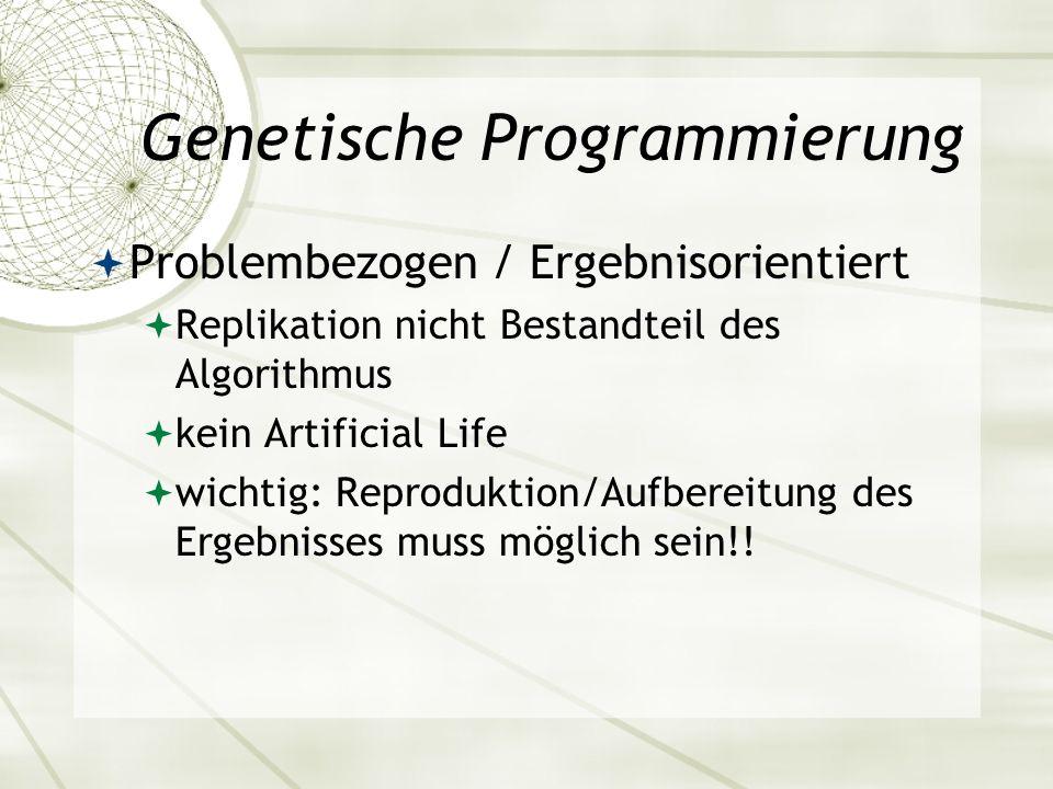Genetische Programmierung Problembezogen / Ergebnisorientiert Replikation nicht Bestandteil des Algorithmus kein Artificial Life wichtig: Reproduktion