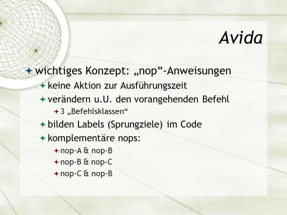 Avida wichtiges Konzept: nop-Anweisungen keine Aktion zur Ausführungszeit verändern u.U. den vorangehenden Befehl 3 Befehlsklassen bilden Labels (Spru