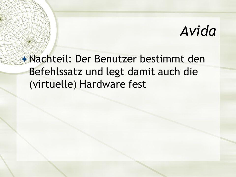 Avida Nachteil: Der Benutzer bestimmt den Befehlssatz und legt damit auch die (virtuelle) Hardware fest