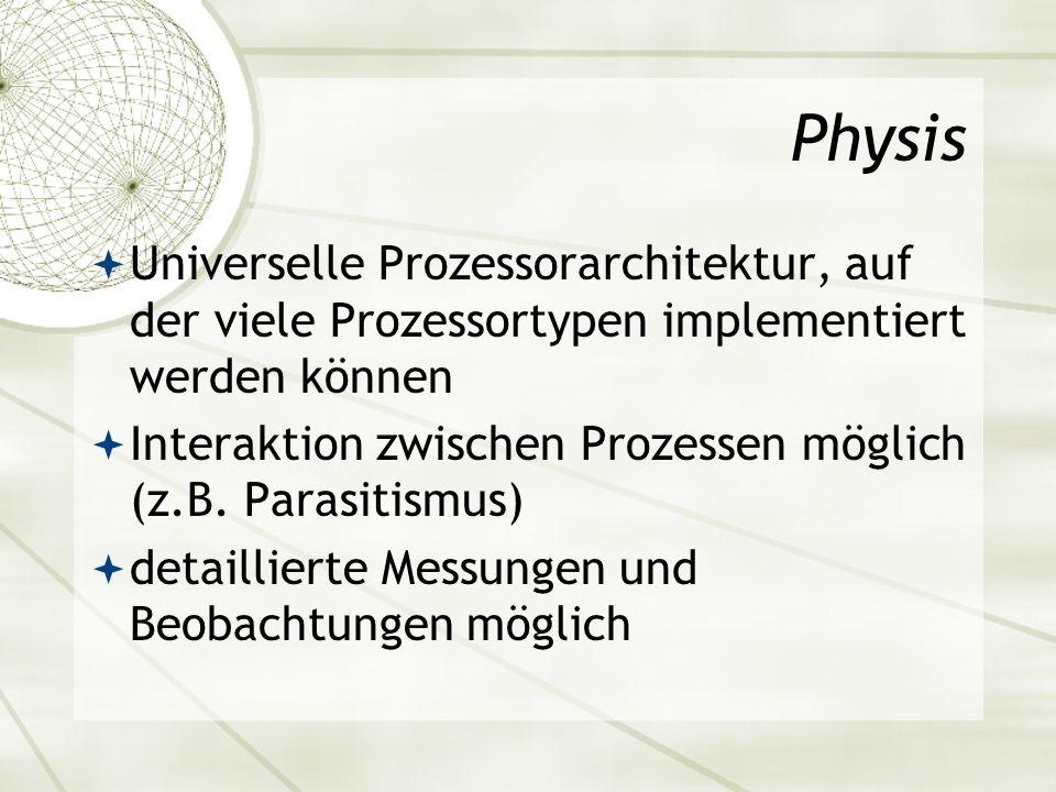 Physis Universelle Prozessorarchitektur, auf der viele Prozessortypen implementiert werden können Interaktion zwischen Prozessen möglich (z.B. Parasit
