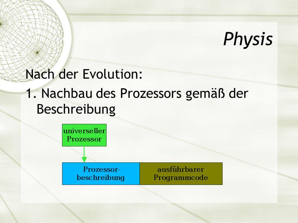 Physis Nach der Evolution: 1. Nachbau des Prozessors gemäß der Beschreibung