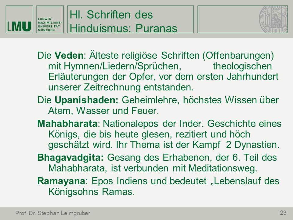 23 Prof. Dr. Stephan Leimgruber Hl. Schriften des Hinduismus: Puranas Die Veden: Älteste religiöse Schriften (Offenbarungen) mit Hymnen/Liedern/Sprüch