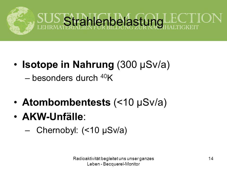 Radioaktivität begleitet uns unser ganzes Leben - Becquerel-Monitor 14 Strahlenbelastung Isotope in Nahrung (300 µSv/a) –besonders durch 40 K Atombomb