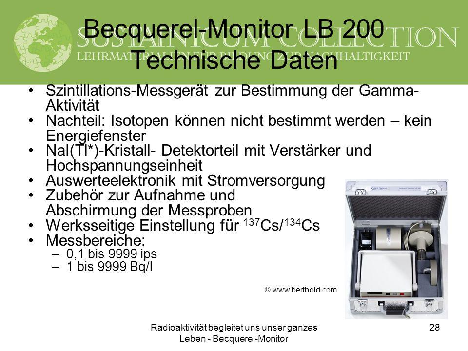 Radioaktivität begleitet uns unser ganzes Leben - Becquerel-Monitor 28 Becquerel-Monitor LB 200 Technische Daten Szintillations-Messgerät zur Bestimmu