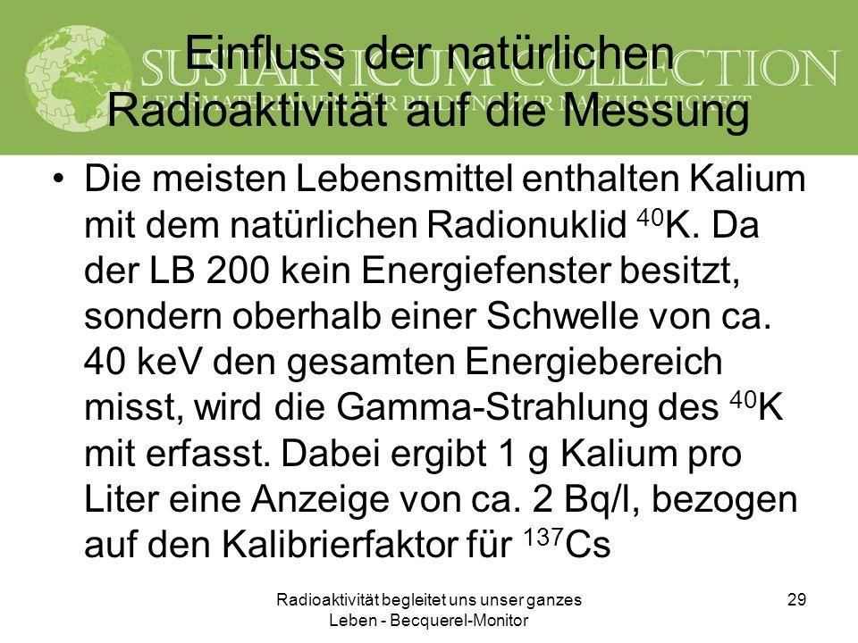 Radioaktivität begleitet uns unser ganzes Leben - Becquerel-Monitor 29 Einfluss der natürlichen Radioaktivität auf die Messung Die meisten Lebensmitte