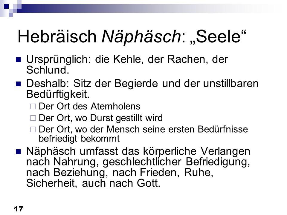 17 Hebräisch Näphäsch: Seele Ursprünglich: die Kehle, der Rachen, der Schlund. Deshalb: Sitz der Begierde und der unstillbaren Bedürftigkeit. Der Ort
