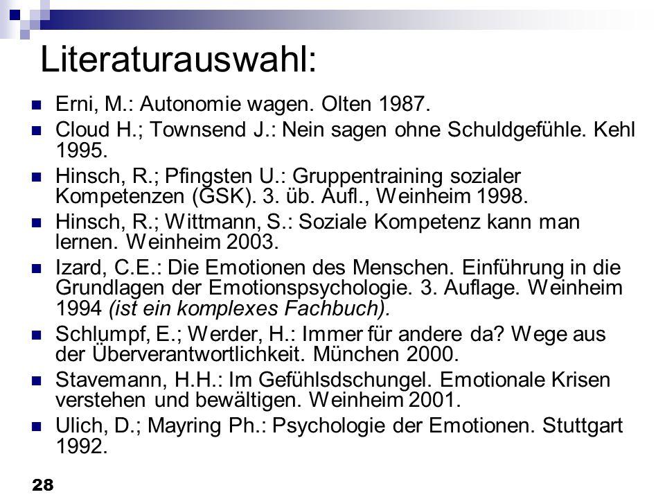 28 Literaturauswahl: Erni, M.: Autonomie wagen. Olten 1987. Cloud H.; Townsend J.: Nein sagen ohne Schuldgefühle. Kehl 1995. Hinsch, R.; Pfingsten U.: