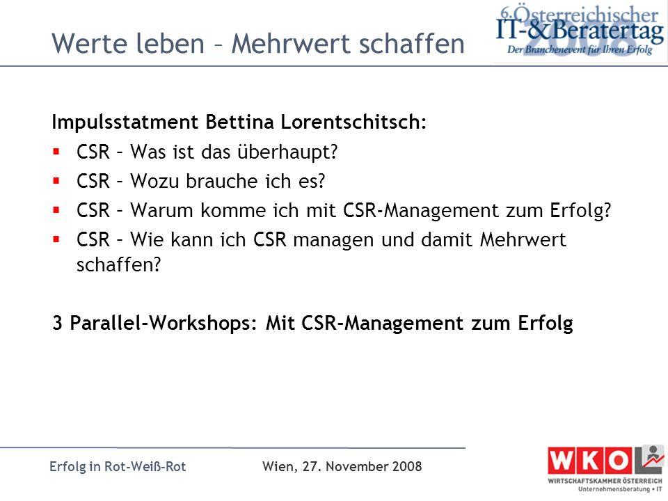 Erfolg in Rot-Weiß-Rot Wien, 27. November 2008 Werte leben – Mehrwert schaffen Impulsstatment Bettina Lorentschitsch: CSR – Was ist das überhaupt? CSR