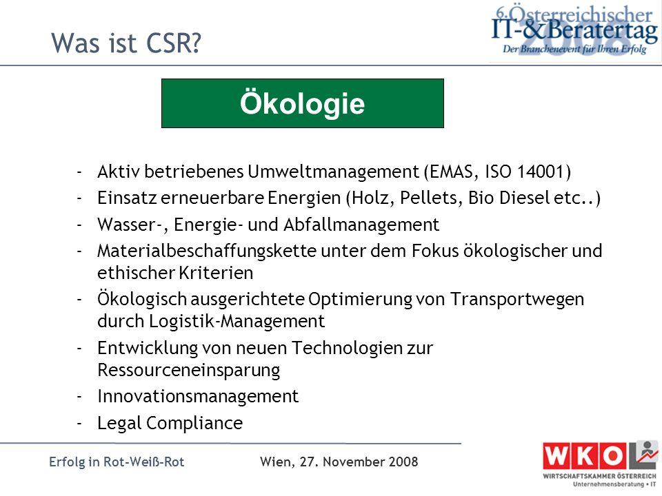 Erfolg in Rot-Weiß-Rot Wien, 27. November 2008 Was ist CSR? -Aktiv betriebenes Umweltmanagement (EMAS, ISO 14001) -Einsatz erneuerbare Energien (Holz,