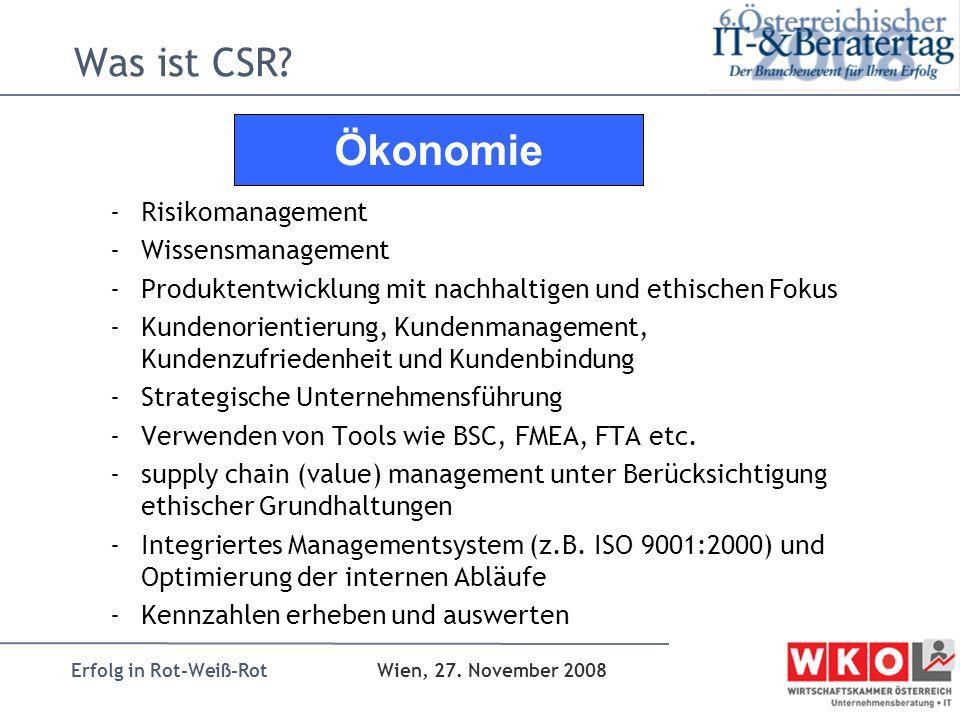 Erfolg in Rot-Weiß-Rot Wien, 27. November 2008 Was ist CSR? -Risikomanagement -Wissensmanagement -Produktentwicklung mit nachhaltigen und ethischen Fo