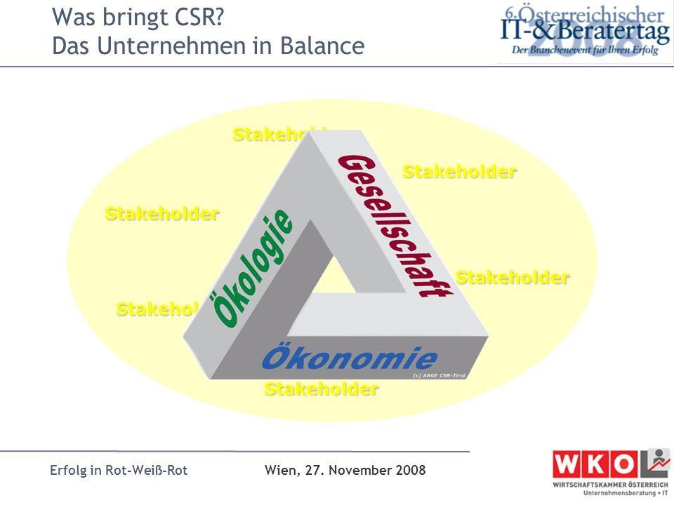 Erfolg in Rot-Weiß-Rot Wien, 27. November 2008 Stakeholder Stakeholder Stakeholder Stakeholder Stakeholder Stakeholder Was bringt CSR? Das Unternehmen