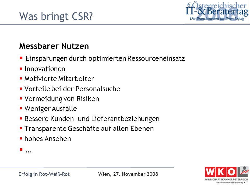 Erfolg in Rot-Weiß-Rot Wien, 27. November 2008 Was bringt CSR? Messbarer Nutzen Einsparungen durch optimierten Ressourceneinsatz Innovationen Motivier