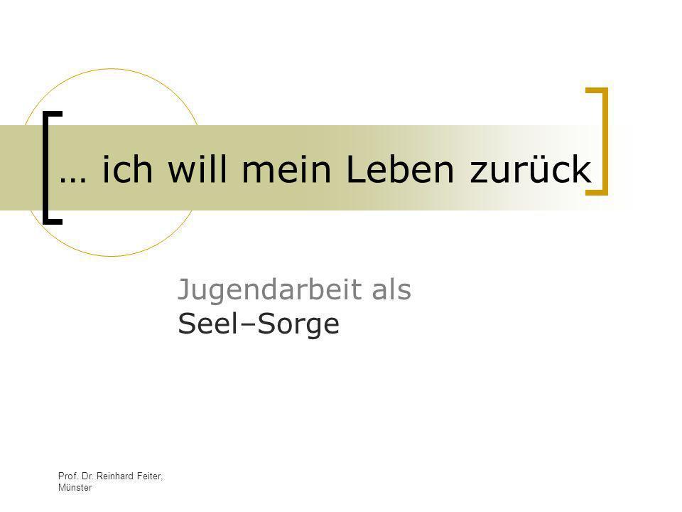 Prof. Dr. Reinhard Feiter, Münster … ich will mein Leben zurück Jugendarbeit als Seel–Sorge