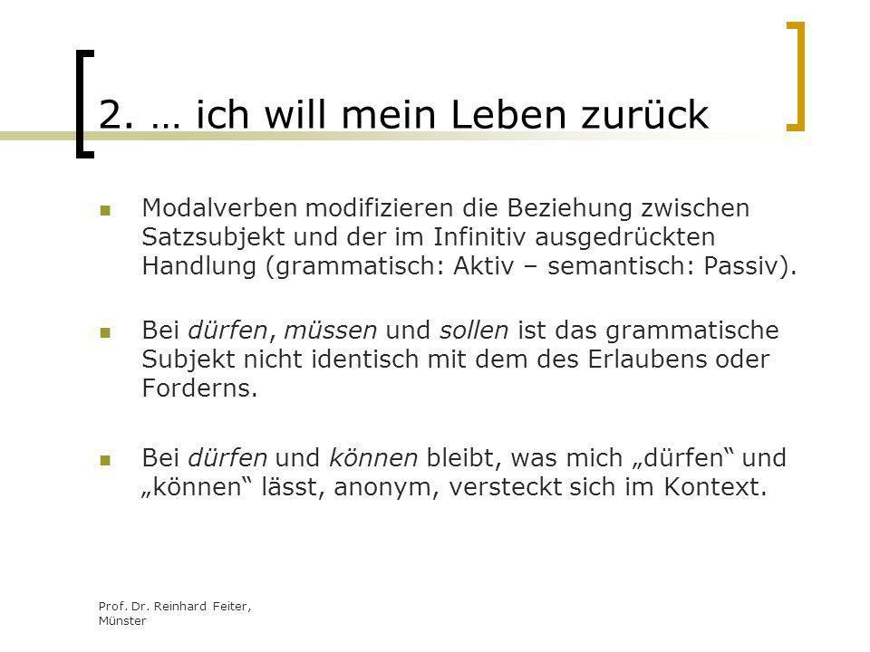 Prof. Dr. Reinhard Feiter, Münster 2. … ich will mein Leben zurück Modalverben modifizieren die Beziehung zwischen Satzsubjekt und der im Infinitiv au