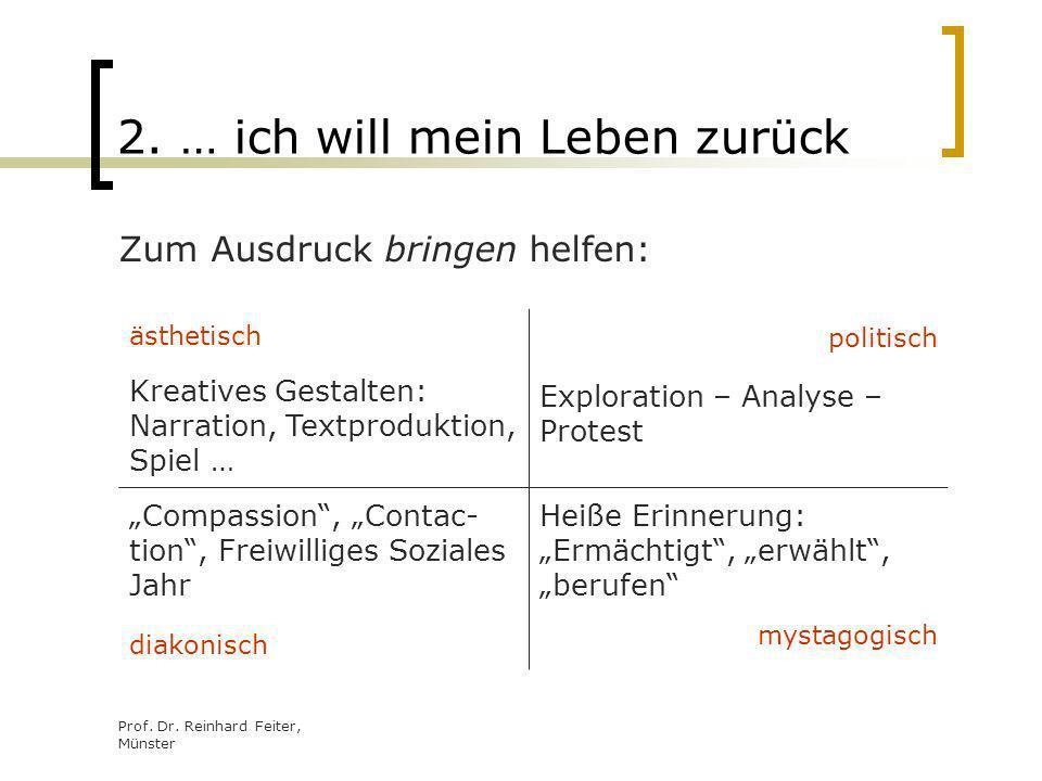 Prof. Dr. Reinhard Feiter, Münster 2. … ich will mein Leben zurück Zum Ausdruck bringen helfen: ästhetisch Kreatives Gestalten: Narration, Textprodukt