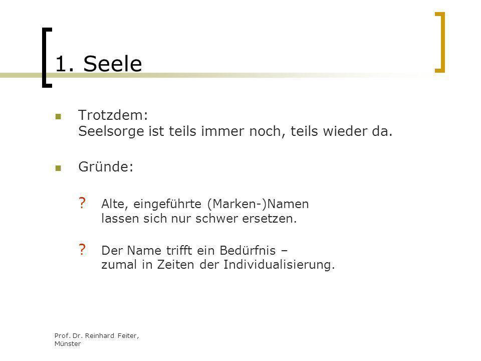 Prof. Dr. Reinhard Feiter, Münster 1. Seele Trotzdem: Seelsorge ist teils immer noch, teils wieder da. Gründe: ? Alte, eingeführte (Marken-)Namen lass