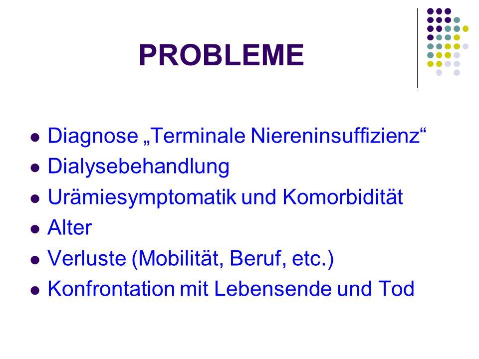 PROBLEME Diagnose Terminale Niereninsuffizienz Dialysebehandlung Urämiesymptomatik und Komorbidität Alter Verluste (Mobilität, Beruf, etc.) Konfrontat