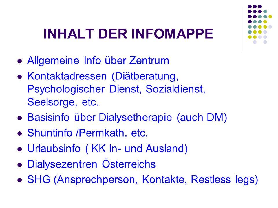 INHALT DER INFOMAPPE Allgemeine Info über Zentrum Kontaktadressen (Diätberatung, Psychologischer Dienst, Sozialdienst, Seelsorge, etc. Basisinfo über
