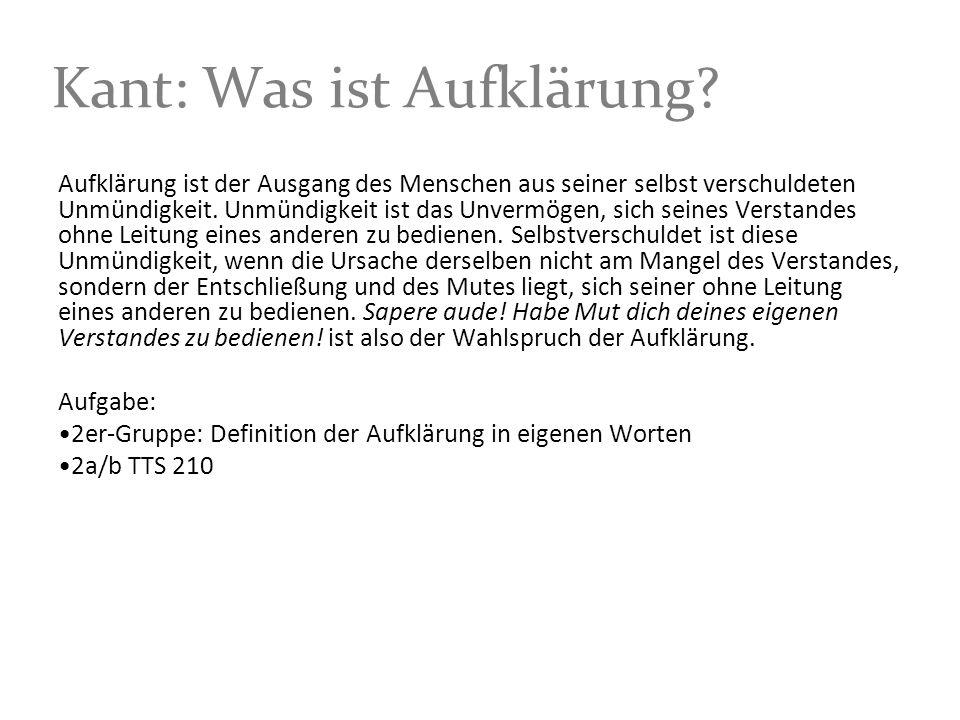 Kant: Was ist Aufklärung.