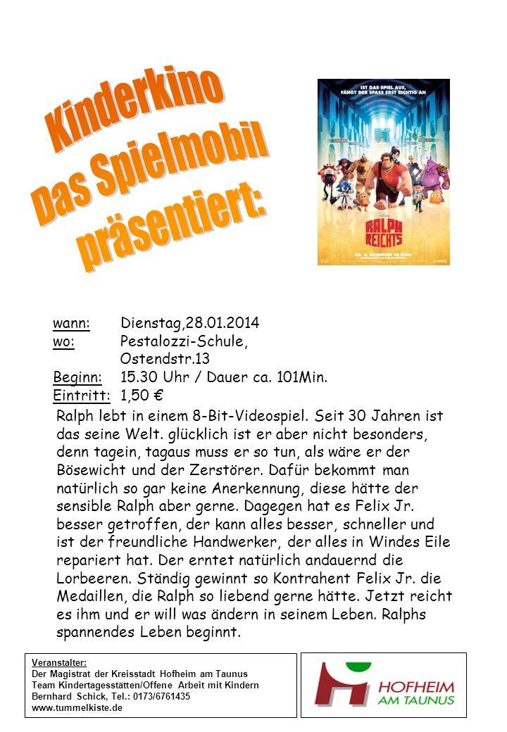 wann:Mittwoch,29.01.2014 wo:Heiligenstock-Schule Betreuung, Königsbergerweg 29 Beginn: 15.30 Uhr / Dauer ca.