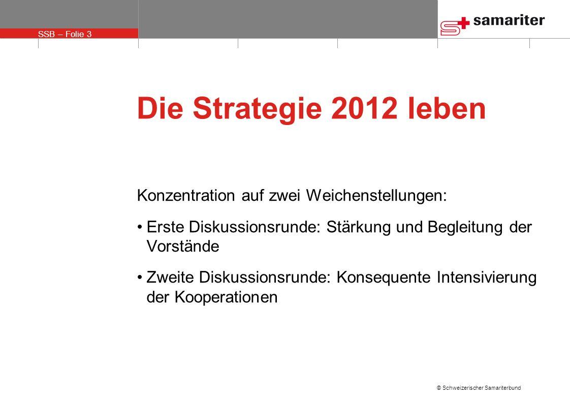 SSB – Folie 4 © Schweizerischer Samariterbund Die Strategie 2012 leben Motto unserer Beratungen: zu besserer Wirkung verhelfen, nicht Mehrarbeit verlangen bessere Effizienz ermöglichen, nicht höhere Kosten zumuten