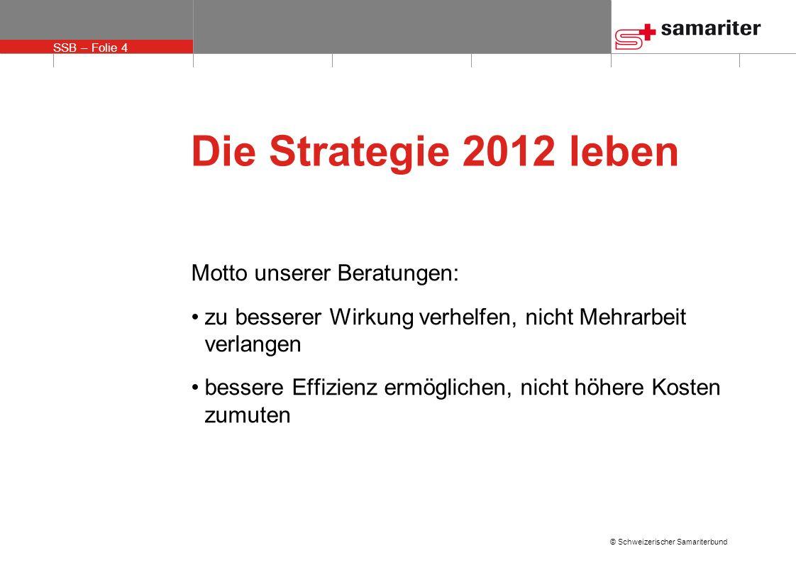 SSB – Folie 5 © Schweizerischer Samariterbund Die Strategie 2012 leben Wir werden erfolgreicher sein, wenn wir unser personelles und finanzielles Potential optimal einsetzen
