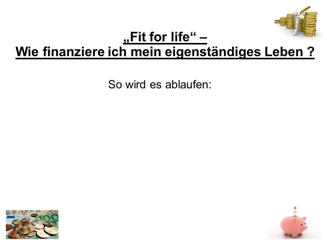 Fit for life – Wie finanziere ich mein eigenständiges Leben So wird es ablaufen: