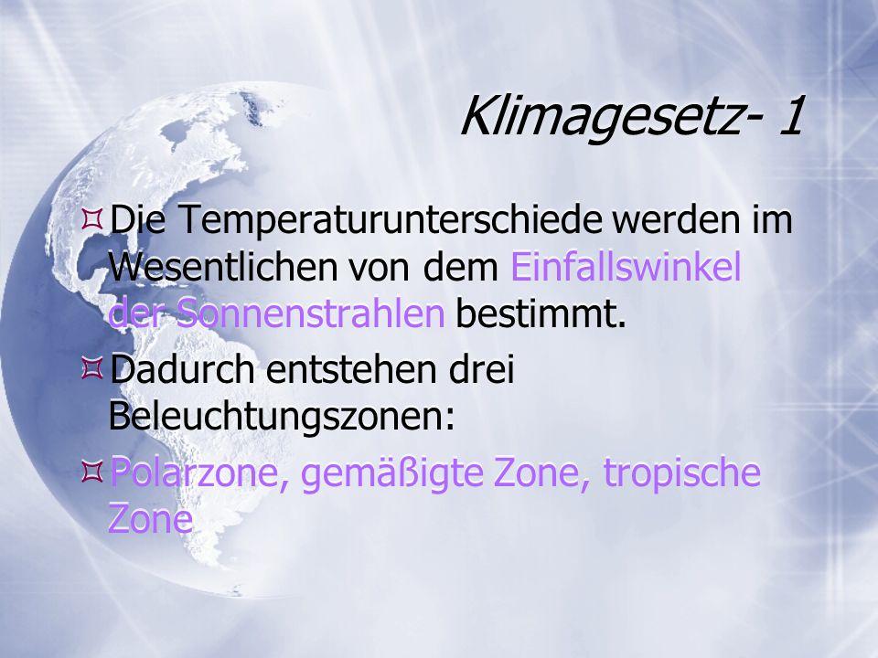 Klimagesetz- 1 Die Temperaturunterschiede werden im Wesentlichen von dem Einfallswinkel der Sonnenstrahlen bestimmt. Dadurch entstehen drei Beleuchtun