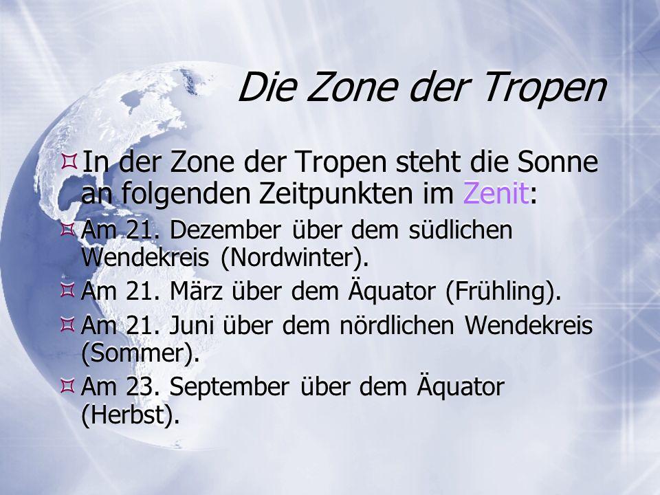 Die Zone der Tropen In der Zone der Tropen steht die Sonne an folgenden Zeitpunkten im Zenit: Am 21. Dezember über dem südlichen Wendekreis (Nordwinte